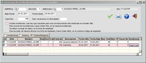 Certificado de desempleo