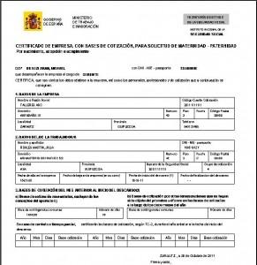 Certificado maternidad-paternidad