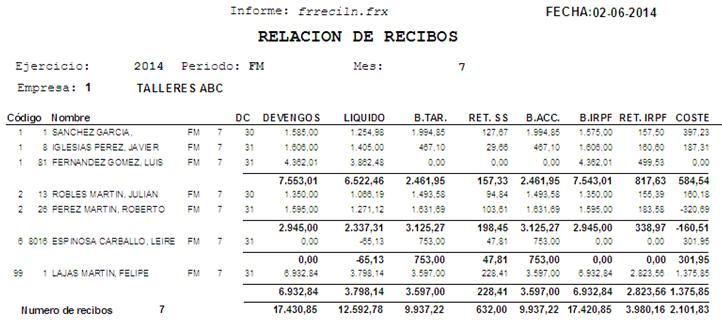 Informe Relación Lineal de Recibos