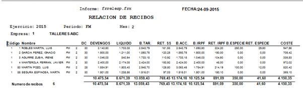 Nuevo informe de Relación Lineal de Recibos